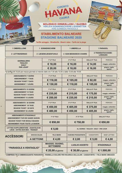 Havana - Listino Prezzi 2020